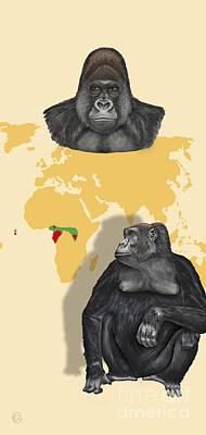 Ape. Great Ape Painting -  Western Lowland Gorilla - Gorilla Gorilla Gorilla - Shrinking Habitat - Zoo Interpretation Panels  by Urft Valley Art