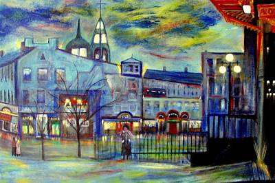 When Night Falls   Quebec City Art Print