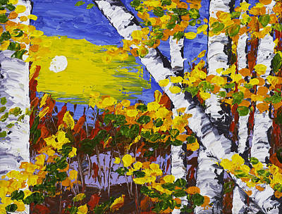 Pallete Knife Painting -  White Birch Trees In Fall Abstract Painting by Keith Webber Jr