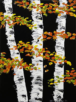 Pallete Knife Painting -  White Birch Trees In Fall On Black Background Painting by Keith Webber Jr