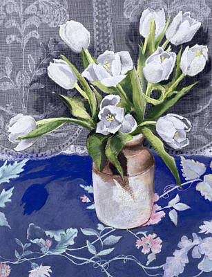 White Tulips Art Print by Cristiana Angelini