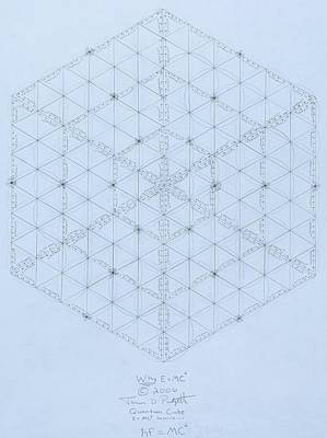 Fractal Wall Art - Drawing -  Why Energy Equals Mass Times The Speed Of Light Squared by Jason Padgett