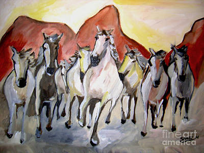Painting -  Wild Mustangs by Sidney Holmes