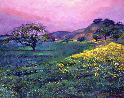 Pink And Yellow Painting -  Wildflower Fields by David Lloyd Glover