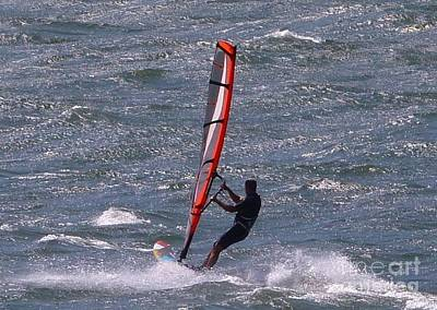 Photograph -  Wind Surfing Red Sail Oregon by Susan Garren
