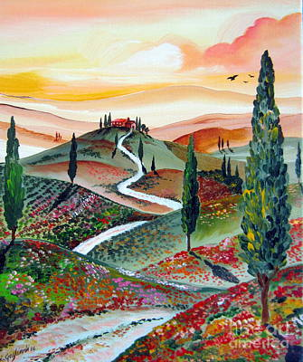 Tuscan Hills Painting -  Winding Country Road Among The Hills Of Tuscany by Roberto Gagliardi