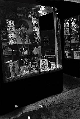 Art Print featuring the photograph  Window Display Night Of Elvis Presley's Death Recordland Portland Maine  1977 by David Lee Guss