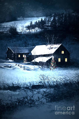 Snow Scene Of A Farmhouse At Night/ Digital Painting Art Print by Sandra Cunningham