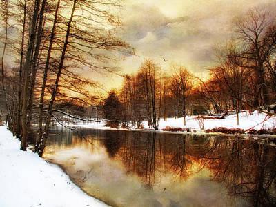 Snow Landscape Digital Art -  Winter Sunset by Jessica Jenney