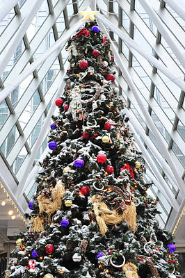Photograph -  Wintergarden Christmas Tree Pittsburgh by Terry DeLuco