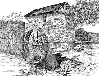 Grist Mill Drawing -  Wolf Pen Mill by Robert Powell