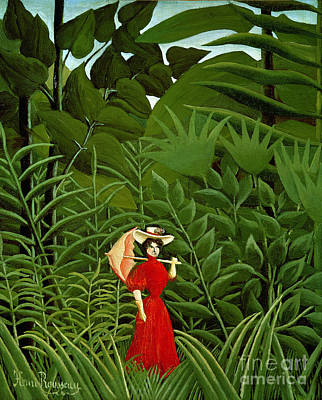 Naive Painting -  Woman In Red In The Forest by Henri Rousseau