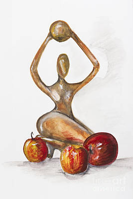 Woman In The African Style  With Red Apples Art Print by Irina Gromovaja
