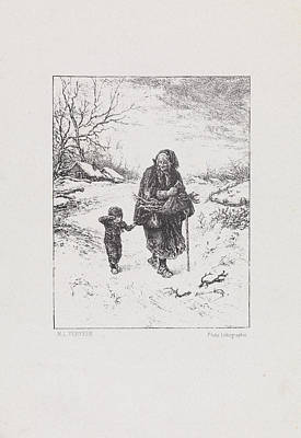 Crying Drawing -  Wood-gatherers With A Crying Child, Elchanon Verveer by Quint Lox