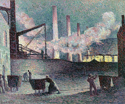 Furnace Painting -  Works Furnaces At Couillet by Maximilien Luce