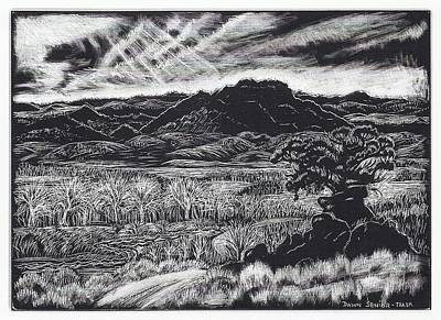 Drawing -  Wyoming Mountain Valley View by Dawn Senior-Trask