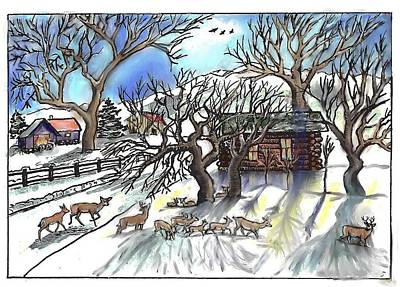 Drawing -  Wyoming Winter Street Scene by Dawn Senior-Trask