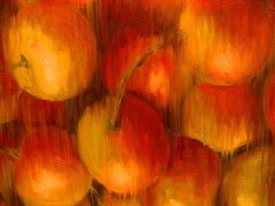 Painting -  Yellow Cherries In Rain by Dan Haraga