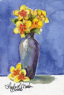 Painting -  Yellow Flowers In Violet Vase by Linda L Martin