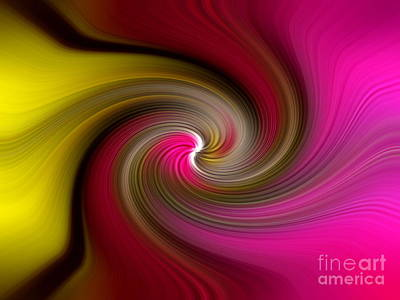 Yellow Into Pink Swirl Art Print