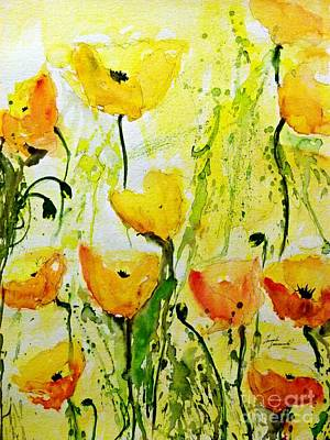 Yellow Poppy 2 - Abstract Floral Painting Original by Ismeta Gruenwald