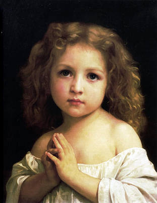 Digital Art -  Young Girl Child Praying by William Bouguereau