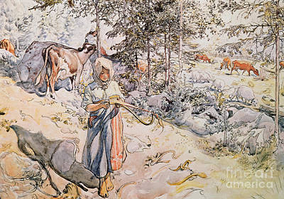 Shepherdess Painting -  Young Girl Weaving by Carl Larsson