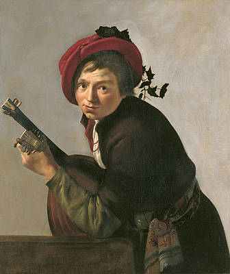 Painting -  Young Man Playing A Theorbo by Jan Gerritsz van Bronckhorst