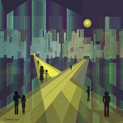 003 - Nightwalking  To A Distant City Art Print by Irmgard Schoendorf Welch