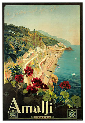 Mediterranean Village Painting - Amalfi Italia by Mario Borgoni