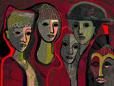 Painting - 006 - Women And Masks ...  by Irmgard Schoendorf Welch