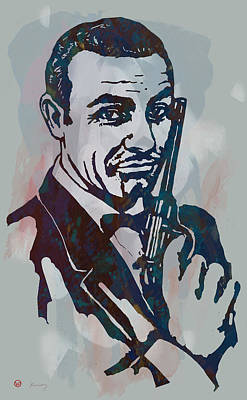 Seven Mixed Media - 007 James Bond - Stylised Etching Pop Art Poster by Kim Wang