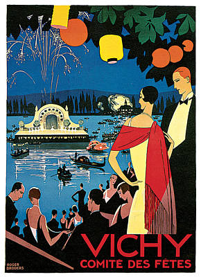 Fireworks Painting - Vichy Festival Committee  by Roger Broders
