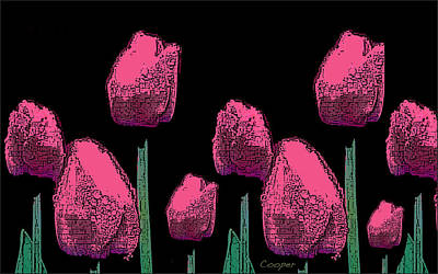 010 Hot Pink Tulips 2a Art Print
