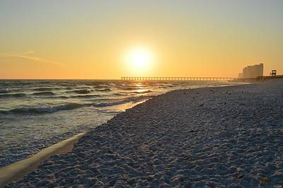 Photograph - 0101 Sunset On Navarre Beach With Navarre Pier And Skyline by Jeff at JSJ Photography