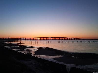 Photograph - 0104 Sunrise On Santa Rosa Sound With Navarre Beach Bridge Silhouette by Jeff at JSJ Photography
