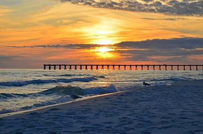 0108 Sunset Colors Over Navarre Pier On Navarre Beach With Gulls Art Print by Jeff at JSJ Photography