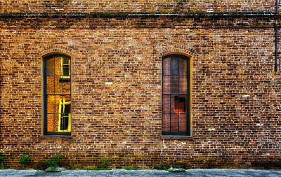 Photograph - Reflections In A Brick Wall - Charleston by Frank J Benz