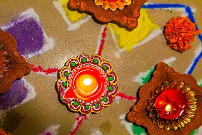 Photograph - 0159 280713 6300 Hindu Rangoli Candle Diva Divali New Year Holi. by Kantilal Patel