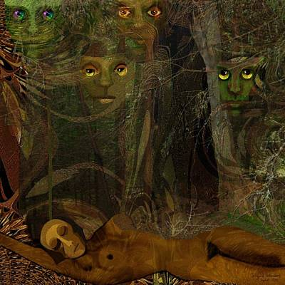 Inu Digital Art - 026  - Some Are Forever Sleeping In The Woods by Irmgard Schoendorf Welch