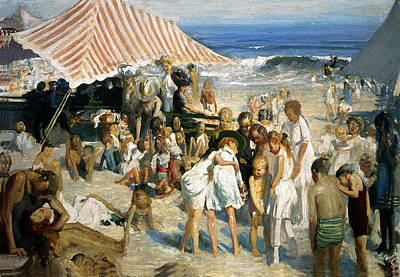 Photograph - Beach At Coney Island by George Wesley Bellows