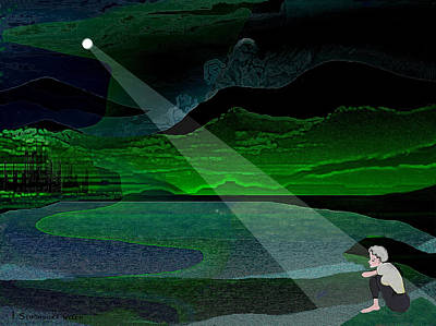 Lonely Girl Digital Art - 034 - Moonlight Lonelyness   by Irmgard Schoendorf Welch