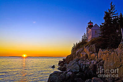 Watercolor Typographic Countries - 0344 Bass Harbor Lighthouse by Steve Sturgill