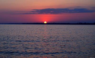 Photograph - 0428 Cloudy Red Sunset On Santa Rosa Sound by Jeff at JSJ Photography