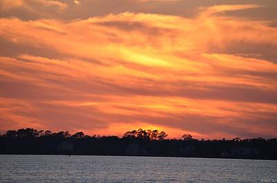 Photograph - 0429 Red Swirl Sunset Clouds On Santa Rosa Sound by Jeff at JSJ Photography
