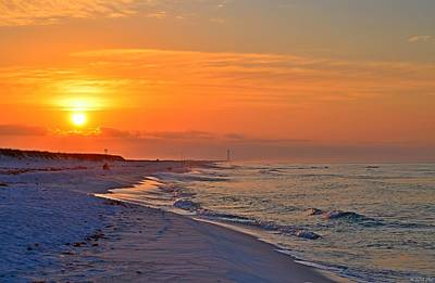 Photograph - 0430 Sunrise Colors With Cirrus Clouds On Navarre Beach by Jeff at JSJ Photography