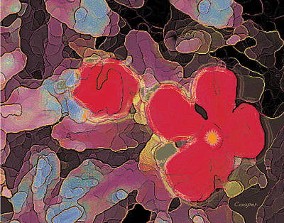 044 Cosmic Impatiens 6 With Blue Art Print