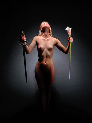 Photograph - 0451 Nude With Sword And Flower  by Chris Maher