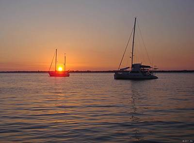 Photograph - 0529 Sunset With Two Sailboats by Jeff at JSJ Photography
