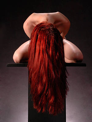 Photograph - 0778 Woman With Red Hair On Platform With Red Hair  by Chris Maher
